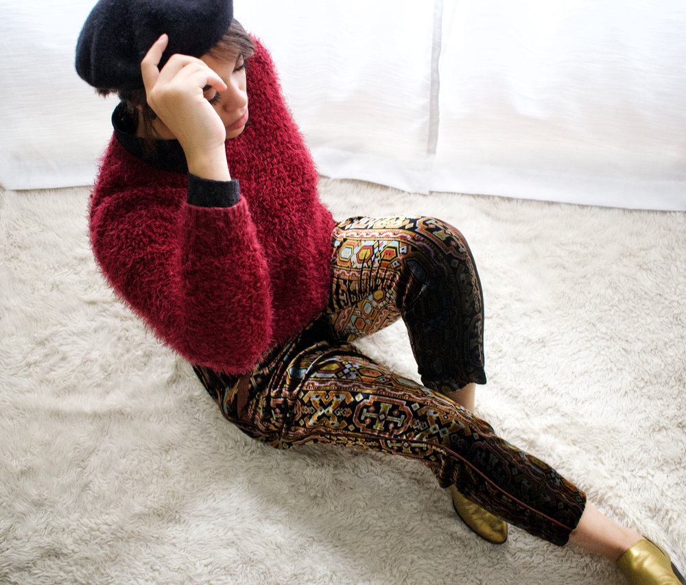 Beret: H&M  Sweater: BYCORPUS  Pants: Anthropologie  Shoes: Franco Sarto