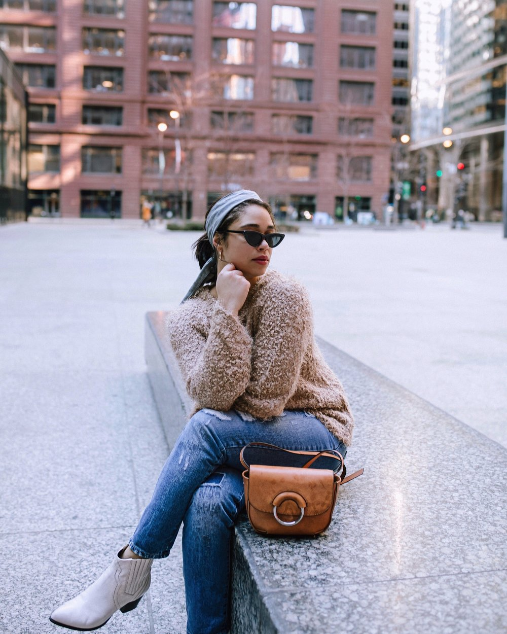 Sweater: Mystree- source: Crossroads Trading  Jeans: Hollywood and Vine- source: Crossroads Trading  Shoes: INC- source: Crossroads Trading  Bag: Banana Republic-source: Crossroads Trading  Headband: Britt Von Decker  Shades: Le Specs  Photography: Ashlee O'neil