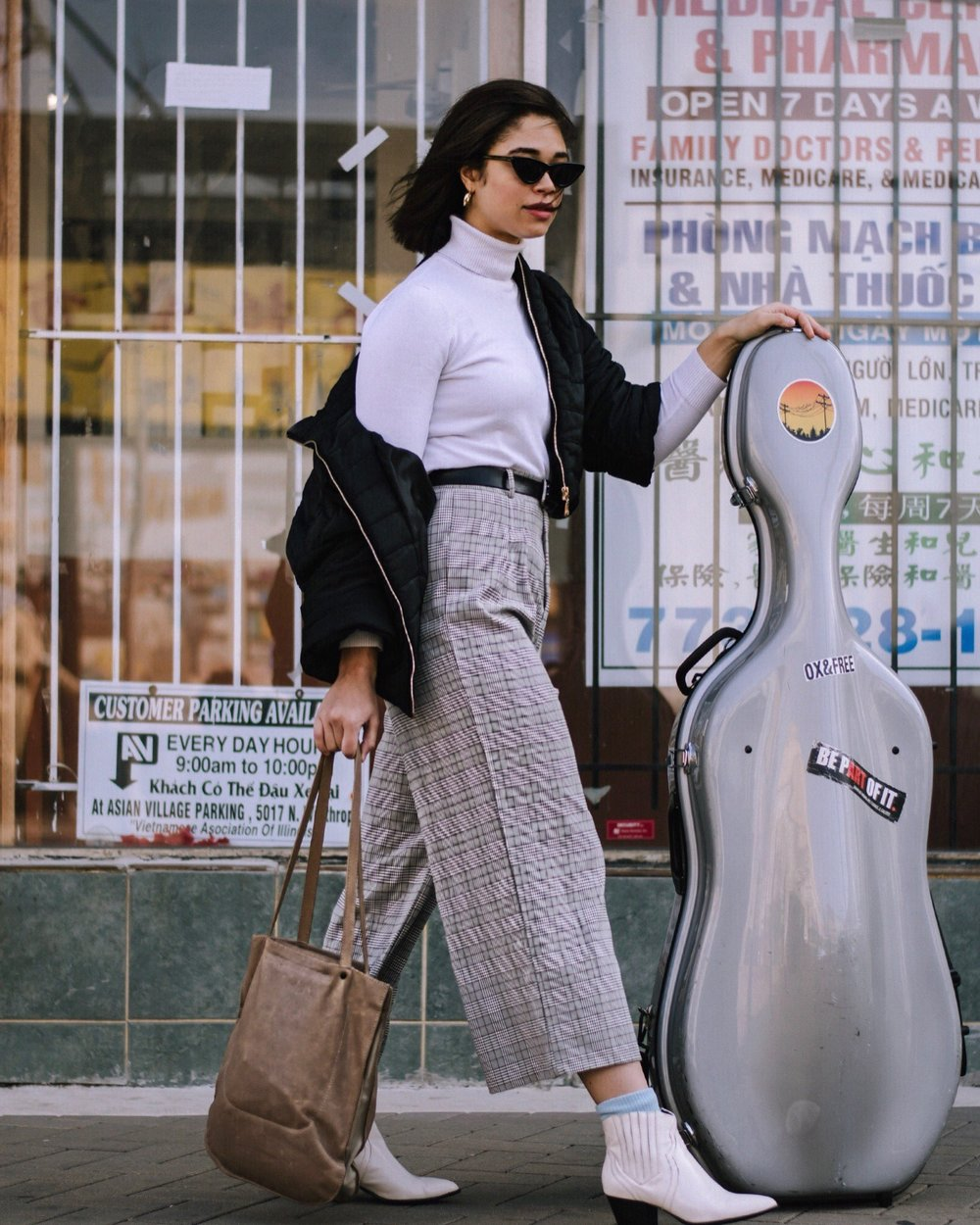 Turtleneck: Joseph A.-source: Salvation Army thrift  Wide-legged trousers: Sadie & Sage-source: Crossroads Trading  Puff Coat: Beulah-source: Crossroads Trading   Shoes: INC-source: Crossroads Trading  Bag: CHC    Sunnies: Le Specs