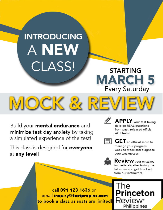 Introducing the Mock & Review class! Starting Saturday, March 5!