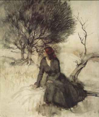 Arthur Rackham - Girl beside a stream .....       the heart keeps looking for itself