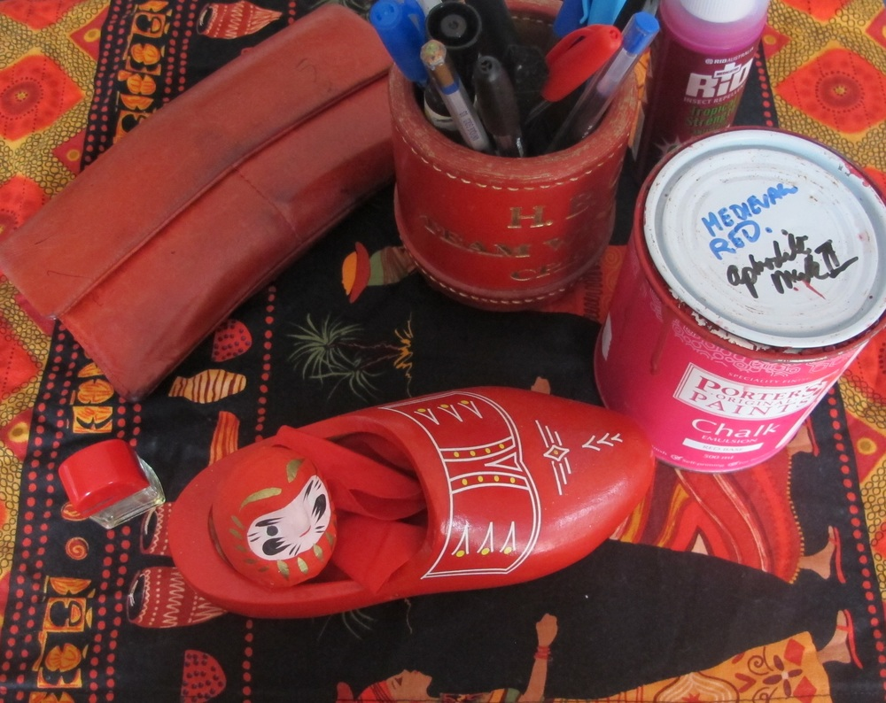 The paint and red things on my desk - maybe red is a closer friend than I think!