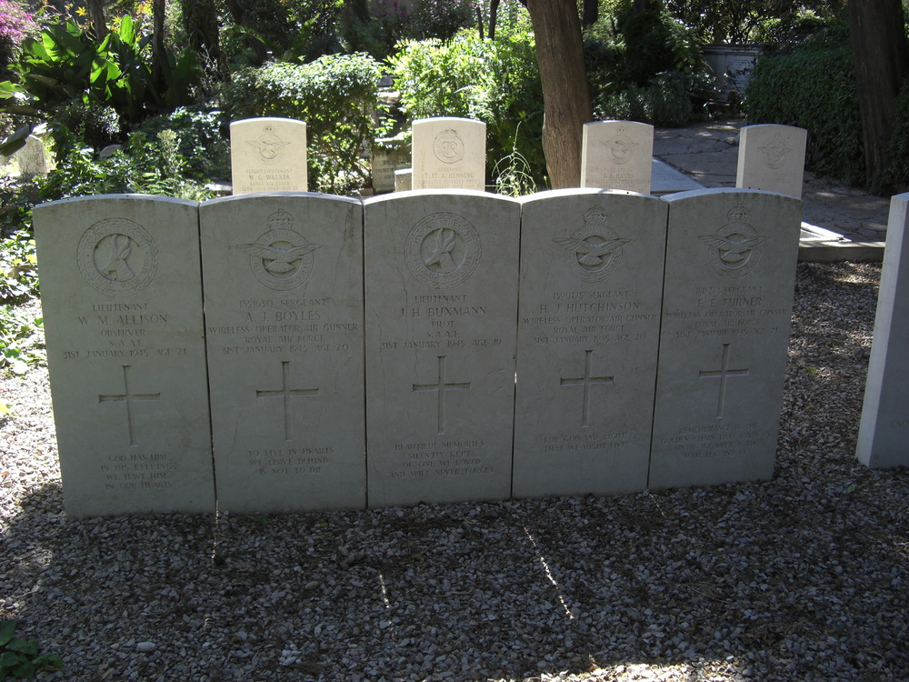 Lts W M Allison & J H Buxman both South African Air Force, Sgts A J Boyles, H J Hutchinson & F E Turner all RAFVR. They were lost when the 22 Sqn SAAF Ventura serial number 6455 (ex RAF FP683) crashed during a routine patrol on 31 January 1945.