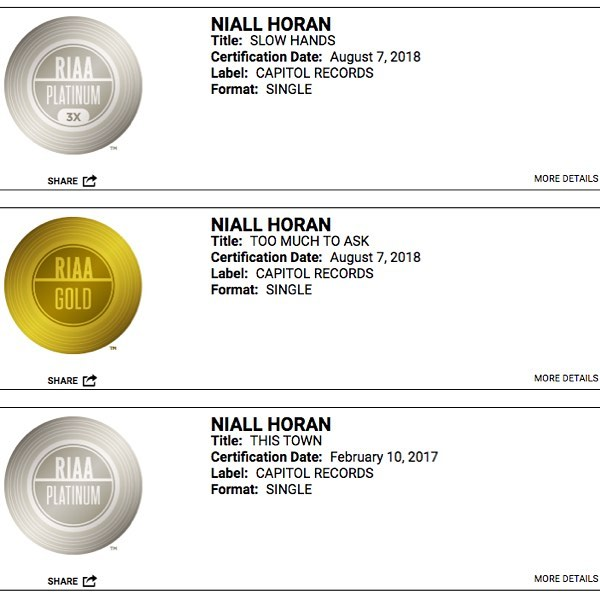 @niallhoran now has 2 platinum singles and 1 gold single. Mastered at @thehitlab by @nathandantzler #mastering #riaa #goldandplatinum