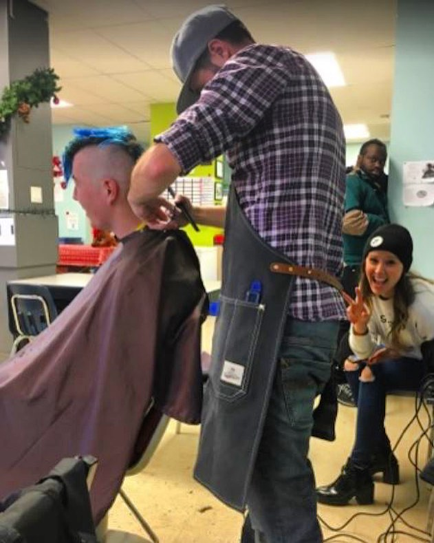 🌟Great job guys 🌟On Monday we donated haircuts to the homeless at Neighbourhood Centre in the #oldstrathcona area. Craig, Danielle and Sierra went and made each persons day better. We are now collecting underwear for the homeless and long johns ✌🏼Did you know that the homeless need new underwear every three days?  #giveback #Edmontonhomeless #underwear #longjohn #hair #yeg #yeghair #edmonton #merrychristmas #giveallyear #barber #cutting