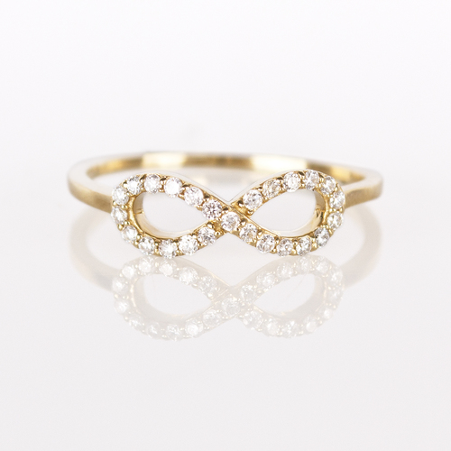 Infinity Ring Yellow White or Rose Gold w White Diamonds