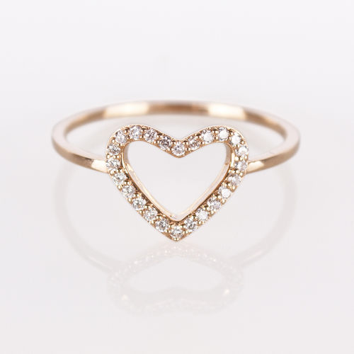 Heart Ring Rose Gold White Diamond — ellie & i