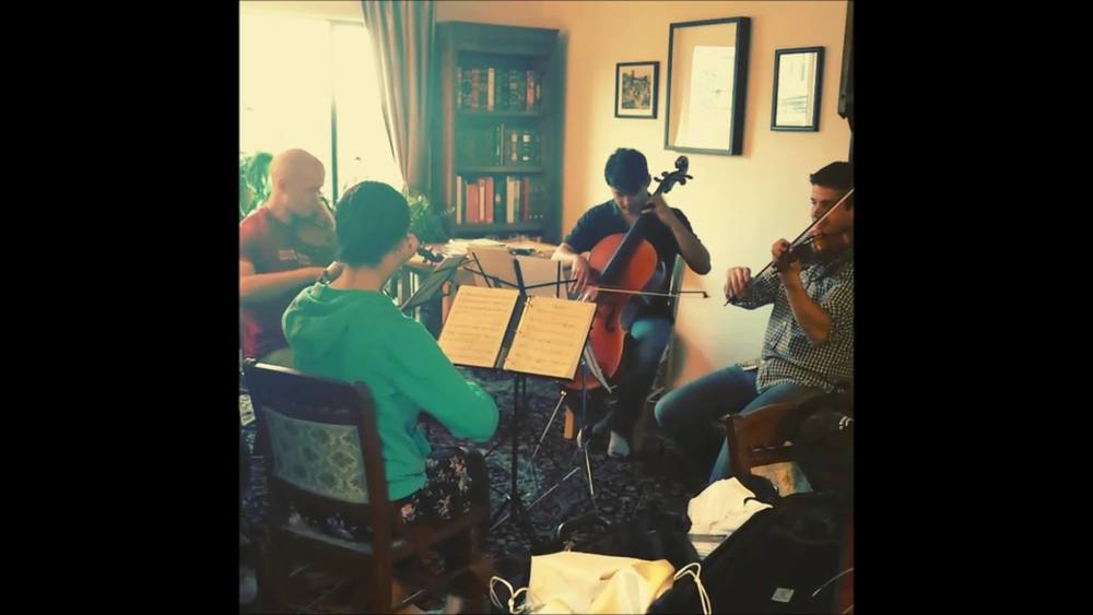 Rehearsing string quartet no.1 by Jose Gonzalez Granero