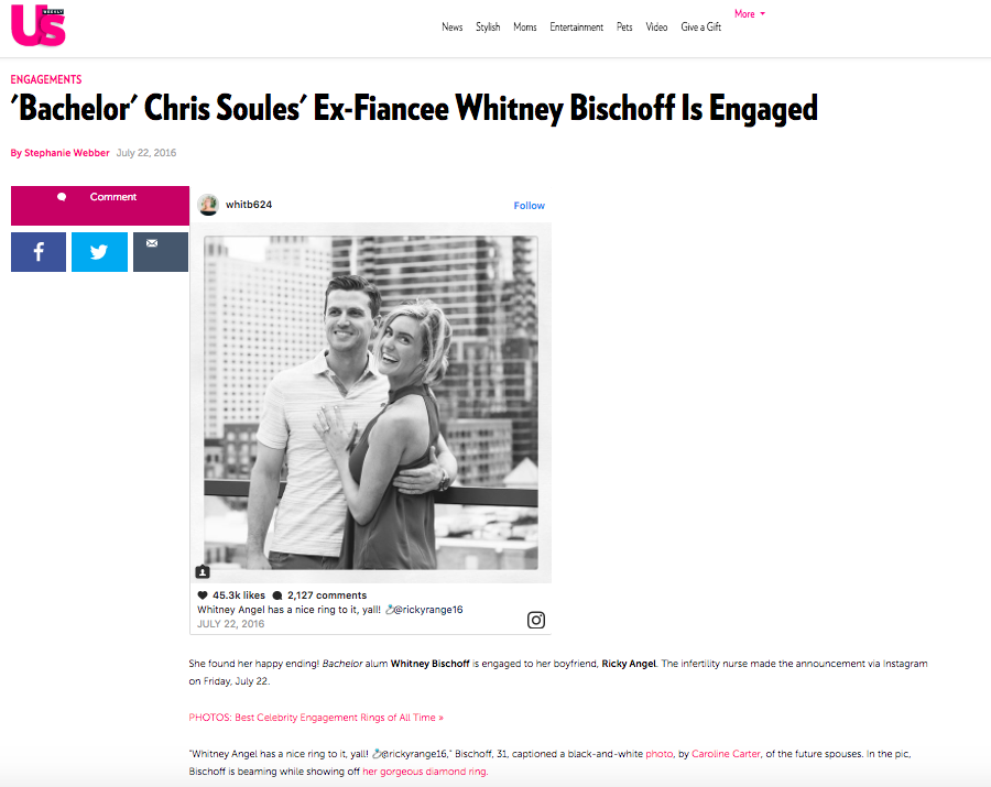 UsWeekly.com - Bachelor Alum Whitney Biscoff's engagement photos.