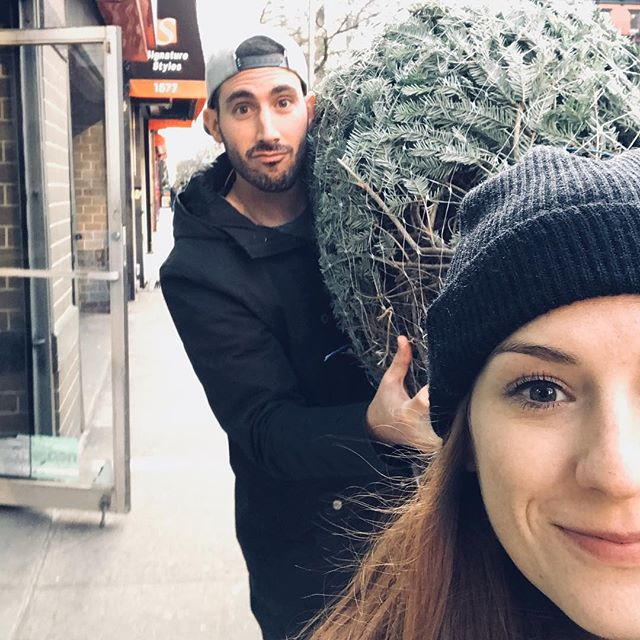 We bought a tree that is way too big for our apartment 🤷🏼‍♀️🌲 #saturdayafterthanksgivingsales