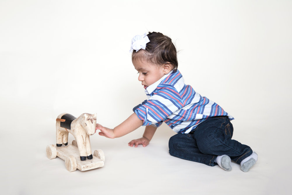 Boy with a wooden Horse. Baby Milestone Photoshoot.