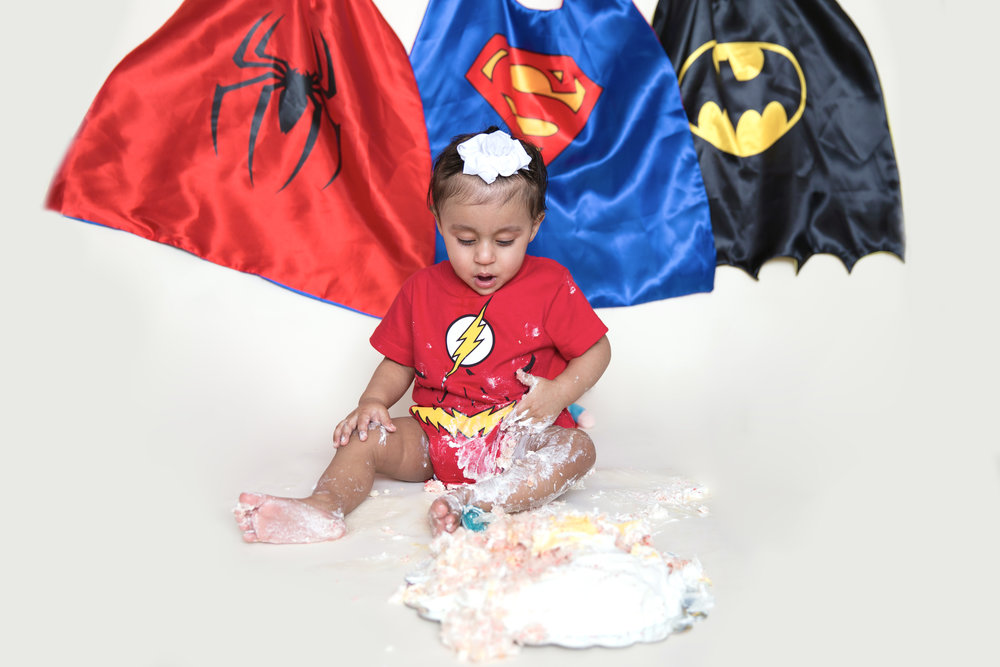 Cakesmash Photoshoot with a Superhero theme. Airdrie and Calgary photographer