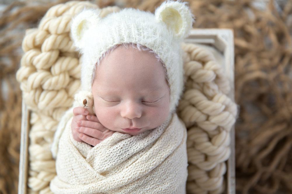 Newborn baby boy wearing a bear hat and holding a little bear toy wrapped in a cloth and in a crate. Calgary Newborn Photographer. Milashka Photography