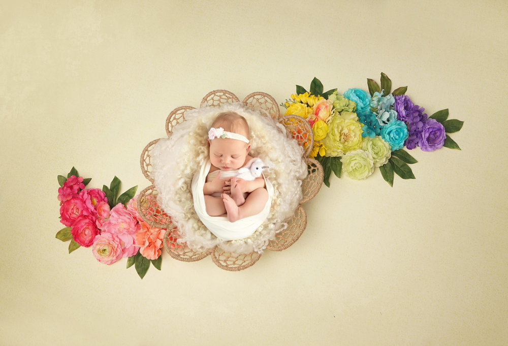 Rainbow baby photoshoot idea. Baby girl in a dreamcatcher basket surrounded by flowers and holding a unicorn. Calgary photographer. Milashka Photography