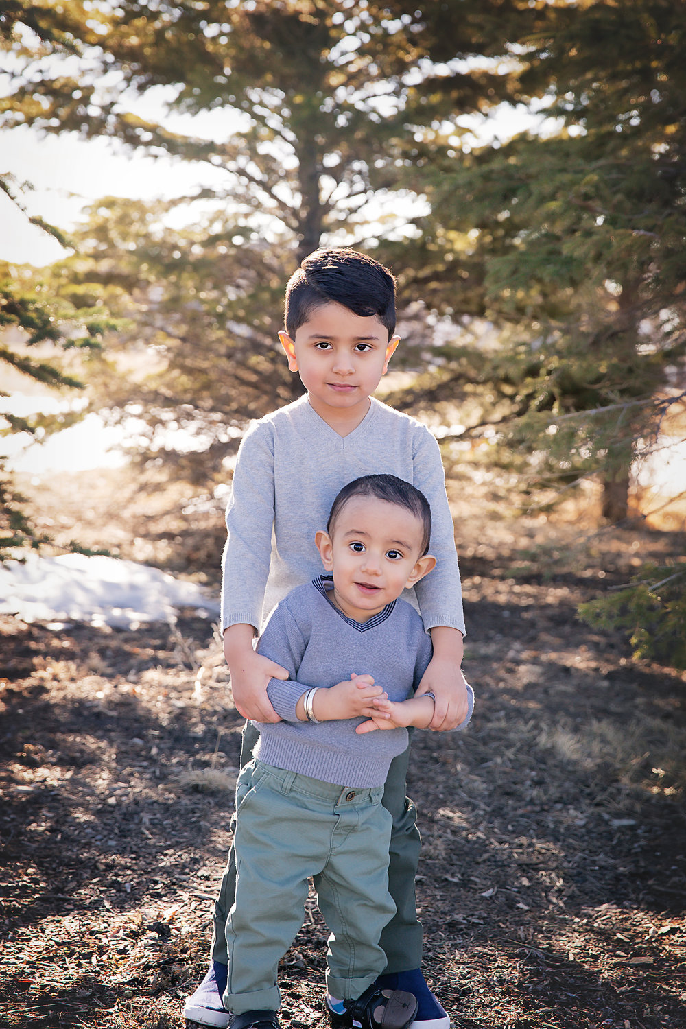 Portraits of 2 young boys. Brothers. Family photographer in Calgary, Alberta