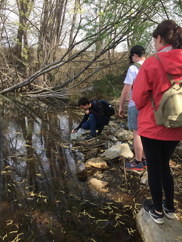Sampling water quality using probe.