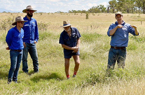 Cam Wilson from The Mulloon Institute instructing farmers in northern Queensland on landscape rehydration techniques.