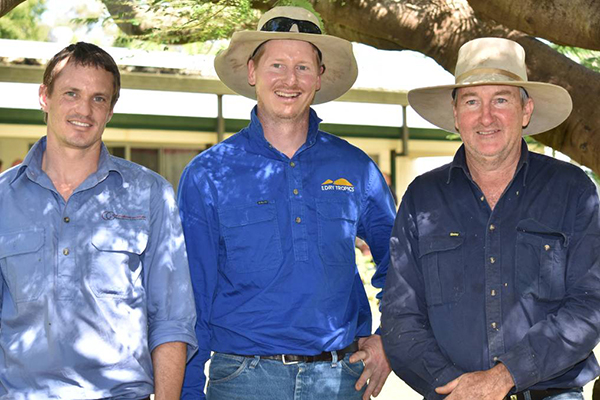 Cam Wilson (The Mulloon Institute), Sam Skeat (NQ Dry Tropics) and grazier Chris LeFeurve at Worona Station, Mingela.