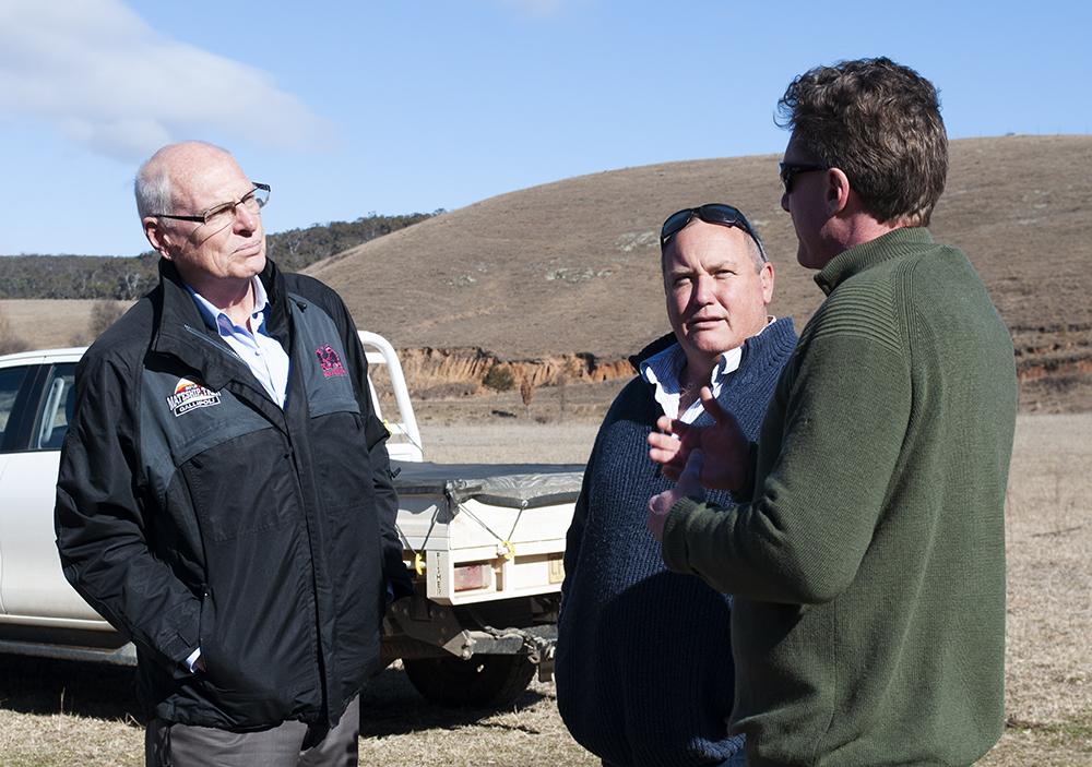 L-R – Senator Jim Molan, Farm Manager Michael Fitzgerald (MCNF), Research Coordinator Luke Peel (TMI)