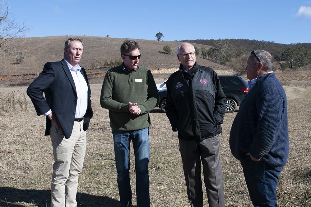 L-R: Dr Jerry Nockles, Research Coordinator Luke Peel (TMI), Senator Jim Molan, Farm Manager Michael Fitzgerald (MCNF)