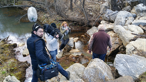Filming Peter Andrews at Peter's Pond