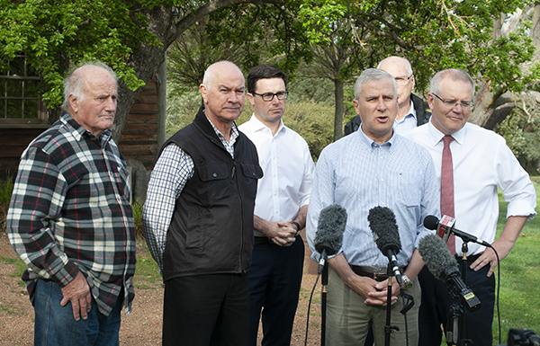 Deputy Prime Minister Michael McCormack address the media at Mulloon Creek Natural Farms in the lead up to the Drought Summit.