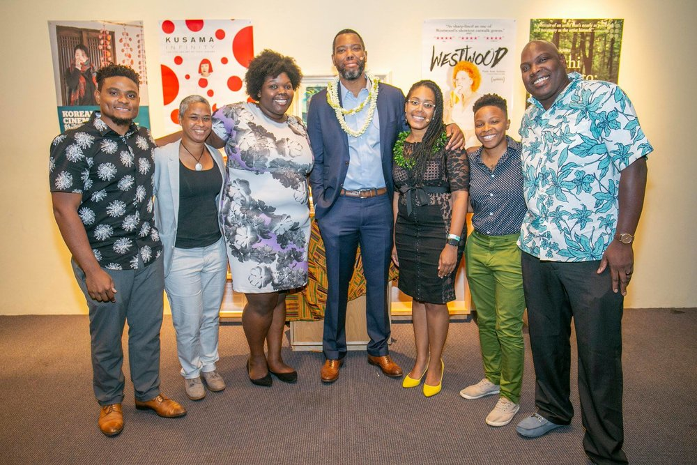 The Pōpolo Project board and staff with Ta-Nehisi Coates. Photo: Shuzo Uemoto