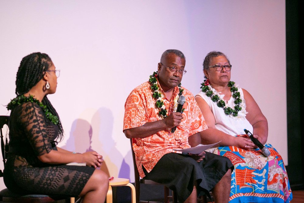 Dr. Akiemi Glenn, Dr. Ponipate Rokolekutu and Dr. Luafata Simanu-Klutz discuss  Blackbird  and the legacy of Pacific slavery. Photo: Shuzo Uemoto