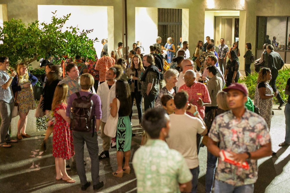 Attendees continue the conversation at the post-event reception in the Luce Pavilion. Photo: Shuzo Uemoto