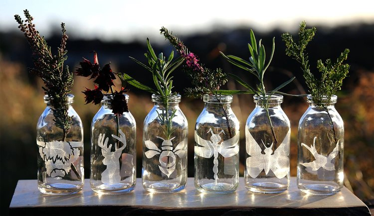 Etched Glass Mini Bottle Vases Hector