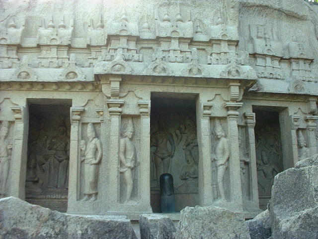 Mamallapuram temple, circa 730 A.D. Note the impressive lingham, the only item not hewn from the living rock