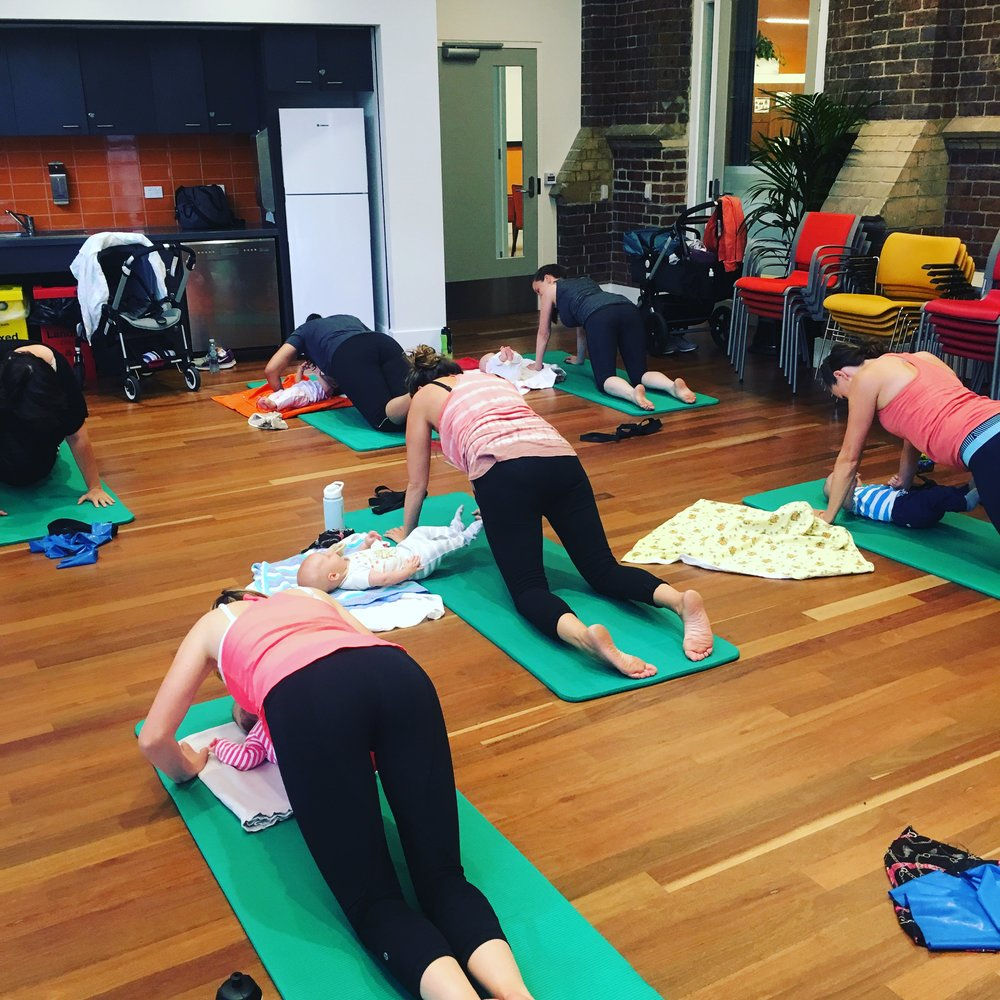 One of our beautiful mothers groups working out at Kathleen Syme Centre in Carlton