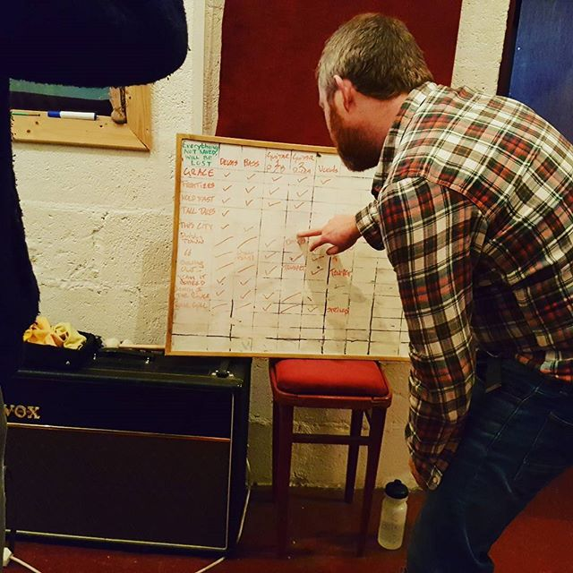Nearly there now! Ticking those boxes is satisfying!  Peader Melhorns #album is almost  tracked with #musicproducer Kevin Lowery at the helm. #recording #recordingstudio #studiolife #music #musicproduction @chocofactorydublin