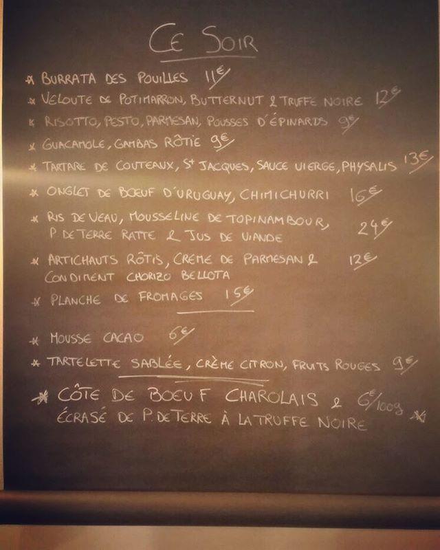 Entrée/plat/dessert et côte de bœuf en guise de digestif ! #paris11 #charonne #aumenucesoir #gastronomie