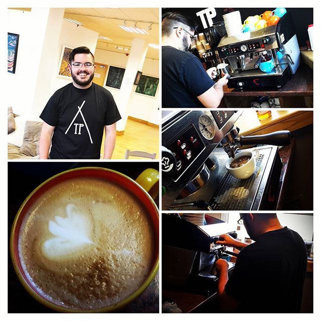 Today Theo became the first person to complete the TP Coffee House Level 1 Coffee Course.  2.5hours - knowledge of equipment - setting the grinder - lesson in the perfect pour (weights and measures) - lesson in different coffees - making me a delicious Americano :) - an hour concentrating on frothing milk for different coffees - 30mins on attempting latte art - lunch AND a TP tshirt  If this is something you are interested in, get intouch for prices.  This is a 1 to 1 session in order for you to get the best out it. BIG love Laura and the team :) xxx