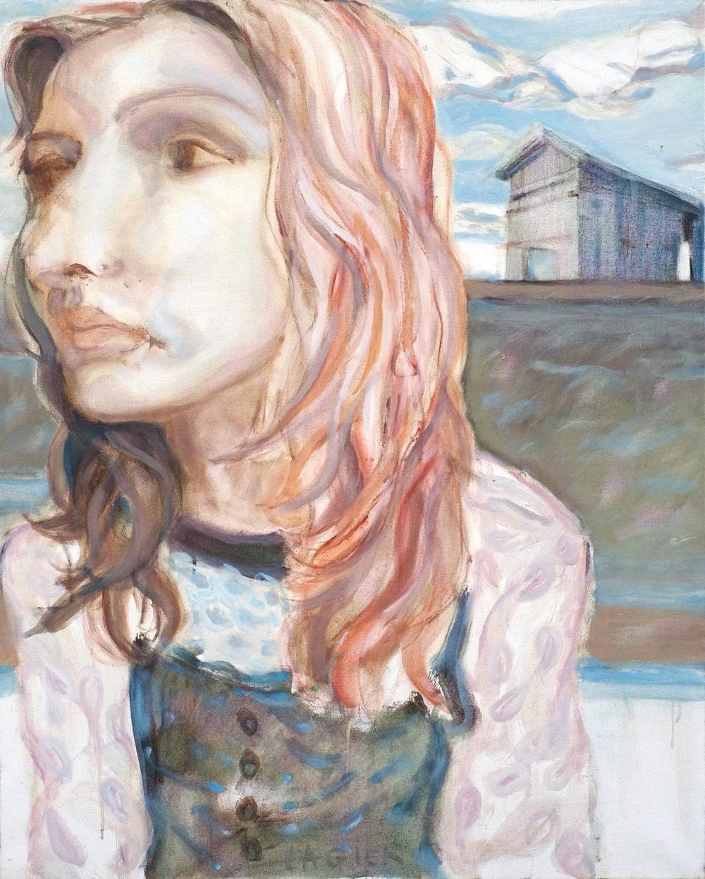 La fille et la grange // Format 100 X 81 cm