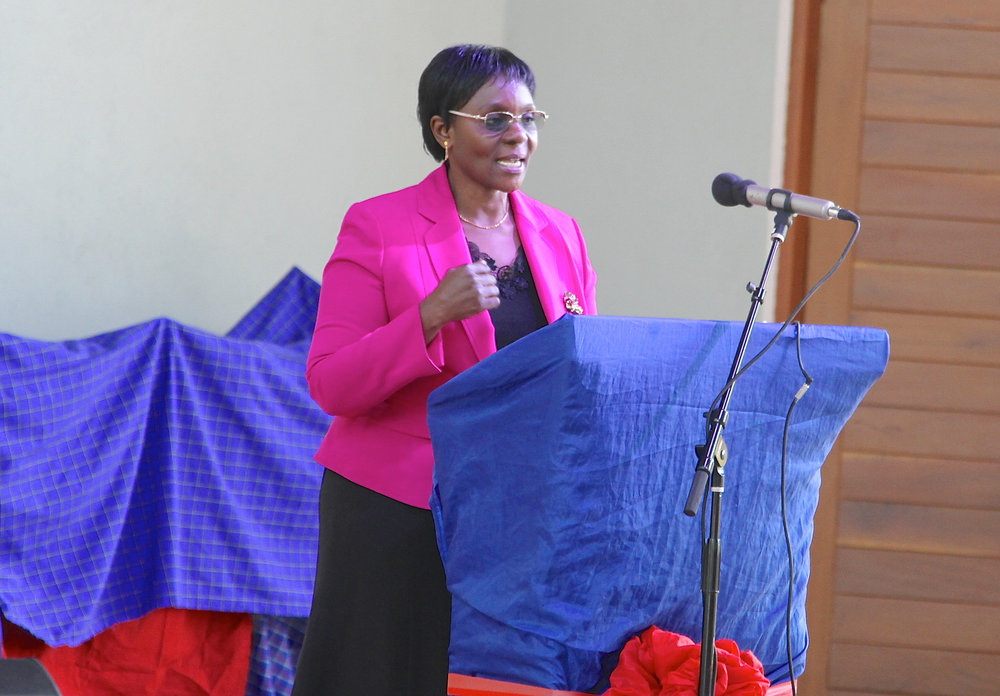 The Deputy Minister of Information, Culture, Arts and Sports Honourable Anastazia Wambura giving her remarks during the CAC Dedication Ceremony.