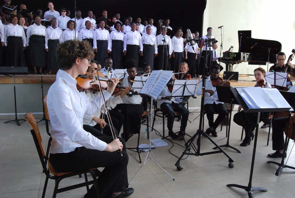 Performing Mozart with the chamber orchestra and choirs