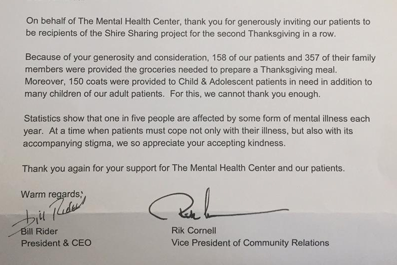 This letter came from the Mental Health Center of Greater Manchester.