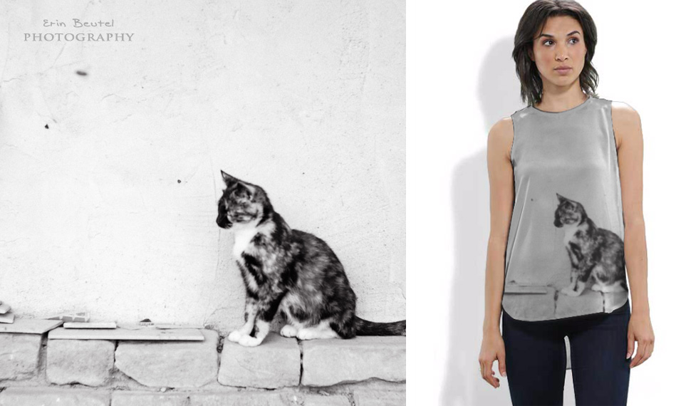 Black Cat Silk Sleeveless Shirt - Erin Beutel for VIDA Voices