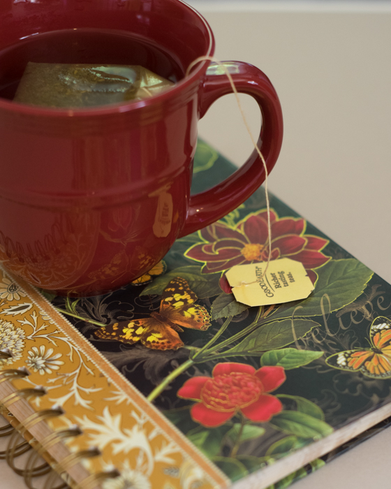 Pretty notebook with a teacup
