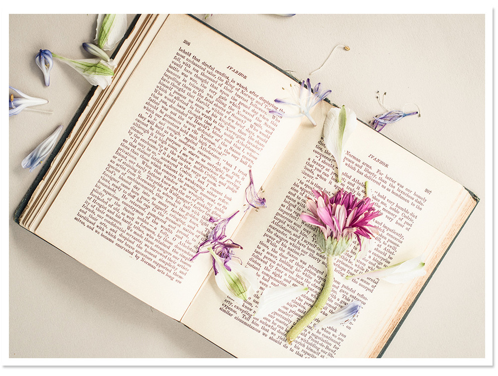 Vintage book with flowers | Erin Beutel Photography