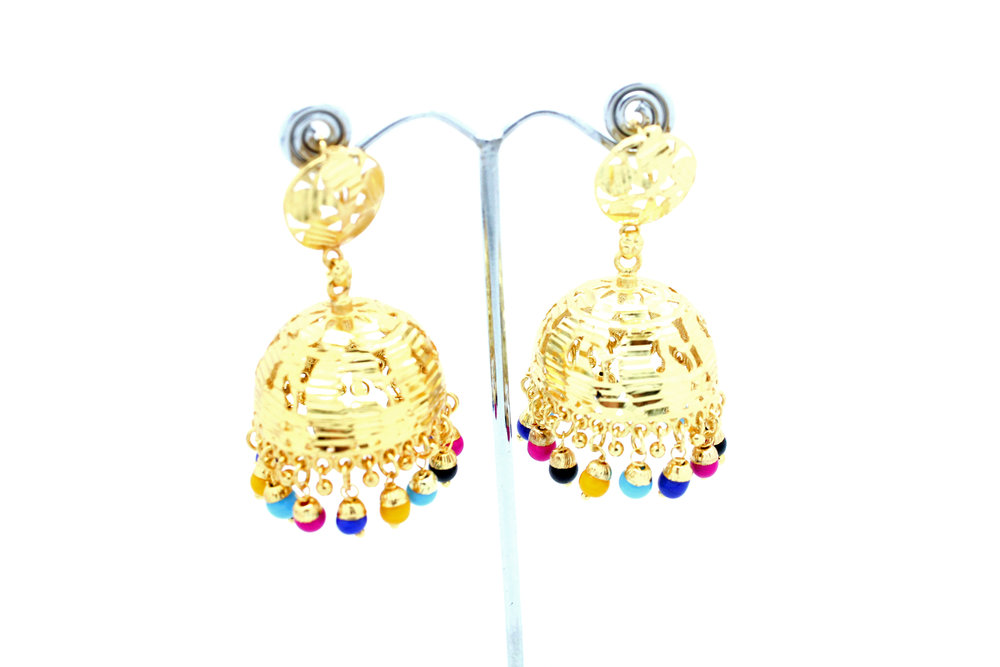 Gold Indian Lightweight Jhumki Earrings