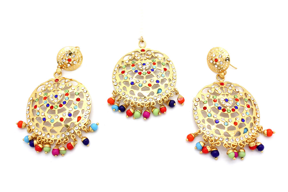 Vintage Indian Tikka & Earring Set