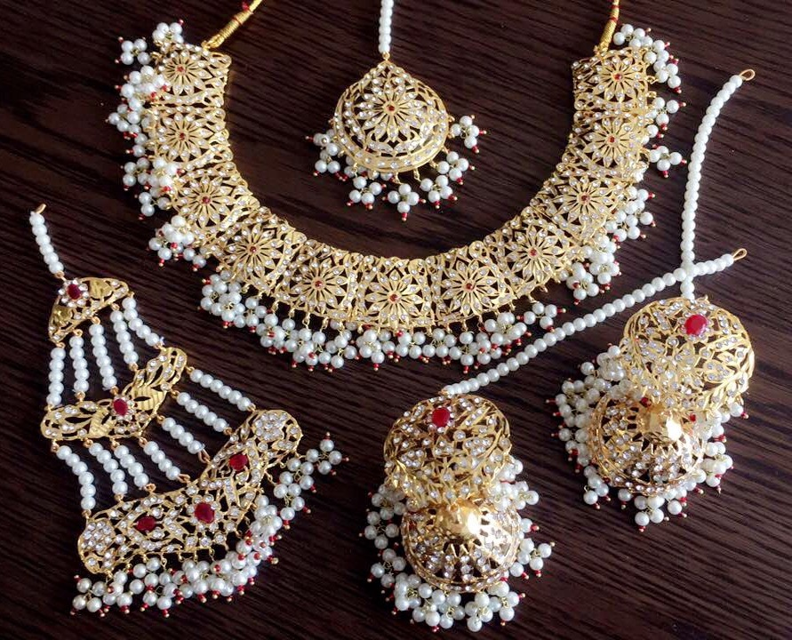 Vintage Indian Necklace Earring Jhumki Jewellery Set