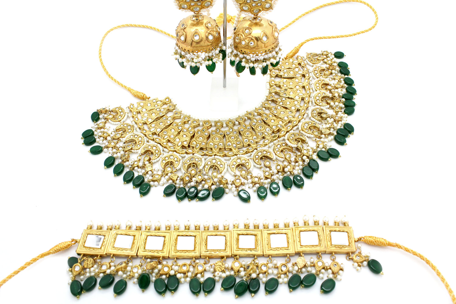 Gold Silver Kaachi Kundan Saman Statement Bridal Jewellery Set