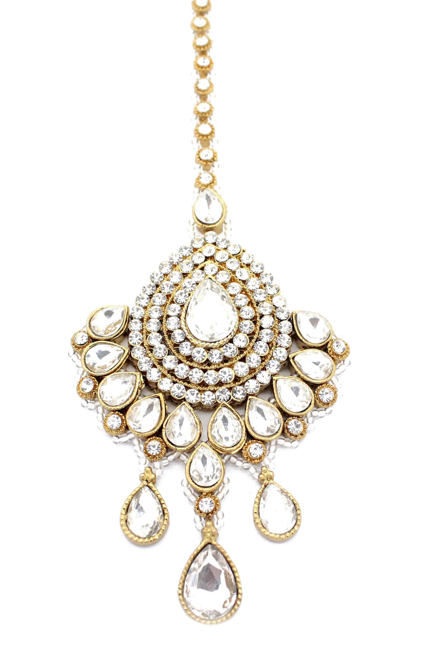 Gold Silver Large Koyal Indian Tikka Headpiece Glimour Jewellery