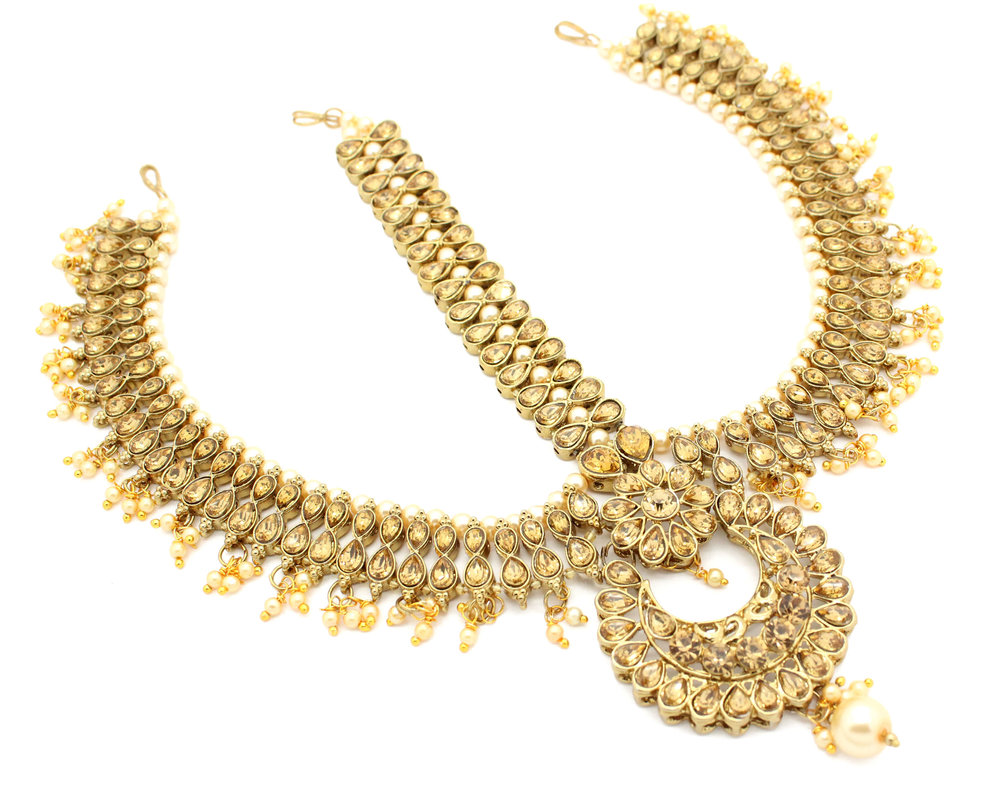 Statement Indian Kundan Padmavati Matha Patti Headpiece Head Chain