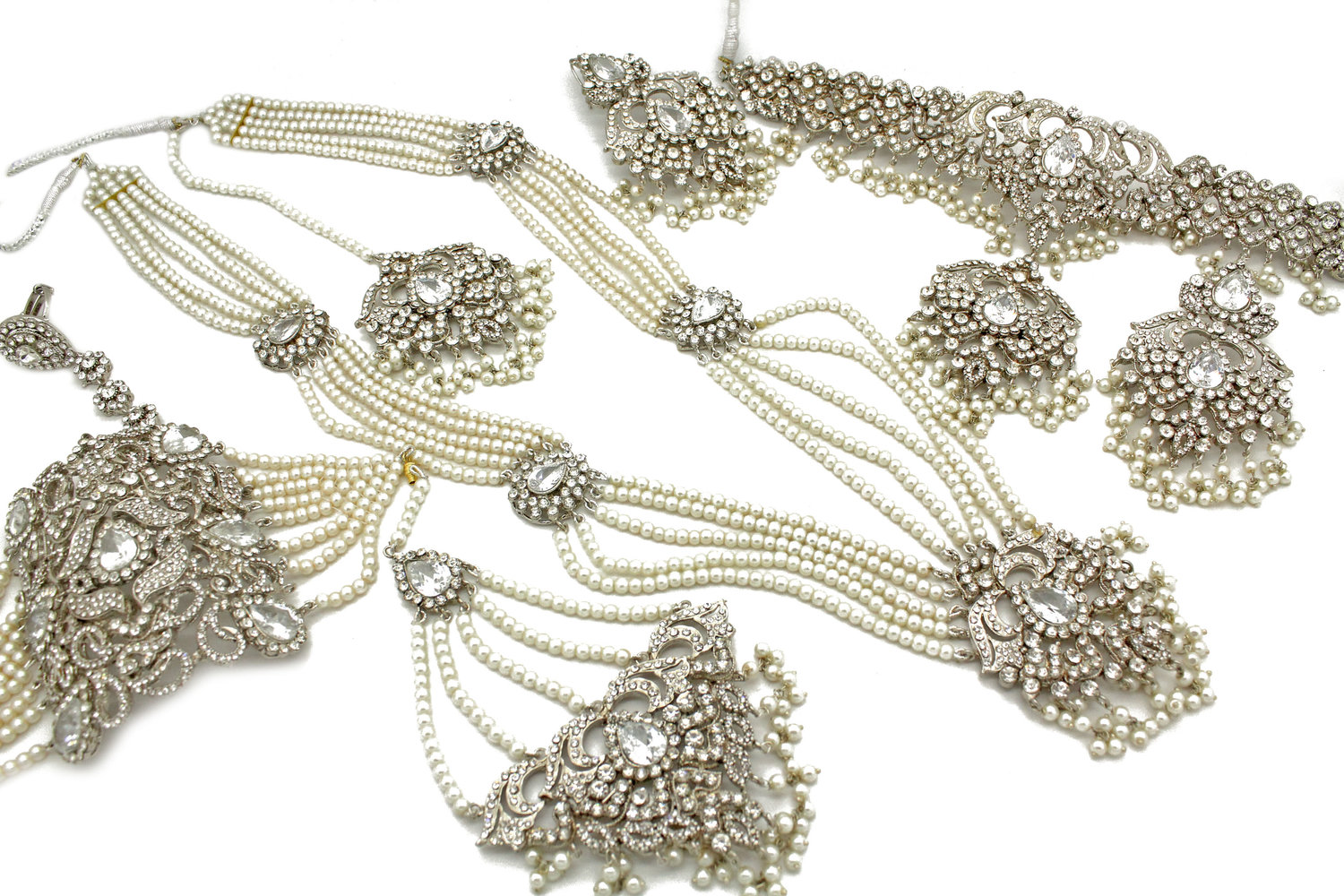 5778d0d70bb4a Silver 'JANAA' Mala Necklace Jewellery Bridal Set — Glimour Jewellery