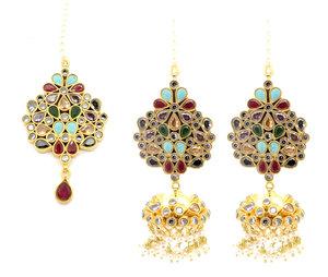 56b710db7 Multi Stone Asian Indian Pakistani Tikka Earring Set Jhumki Earrings  Jewellery